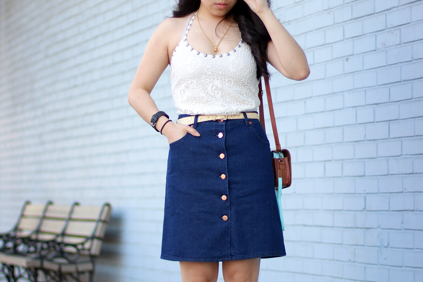 Dear sunny... 70s Retro Denim Skirt Outfit