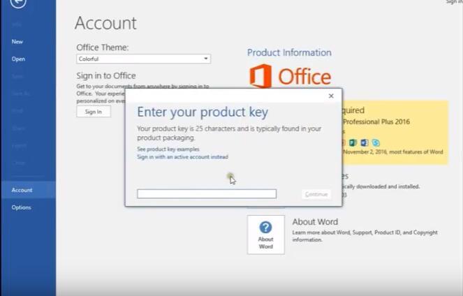 windows office professional 2016 product key