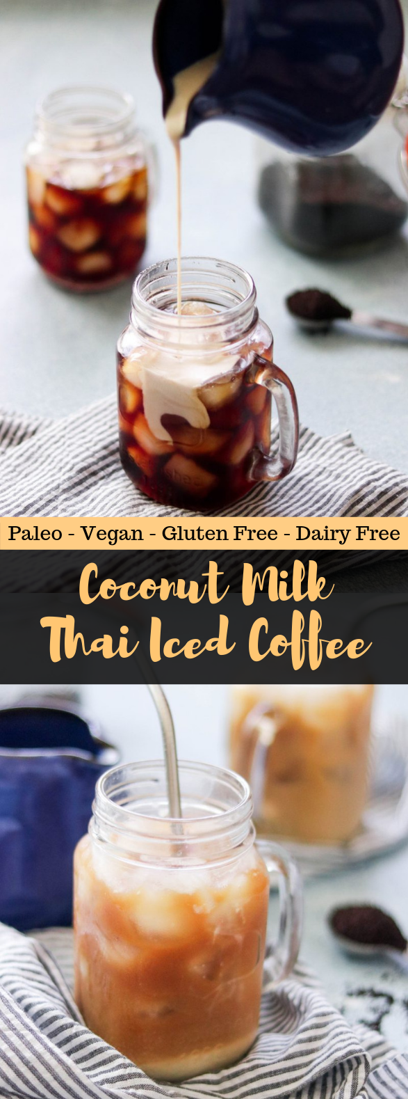 COCONUT MILK THAI ICED COFFEE (PALEO, VEGAN) #healthydrink #coffedrink