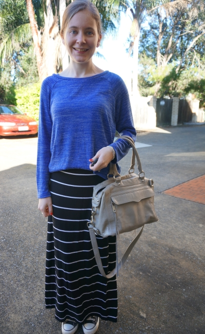 Cobalt blue knit jumper target black white stripe maxi skirt autumn converse RM MAM
