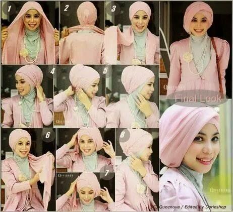Cara memakai jilbab pashmina pesta