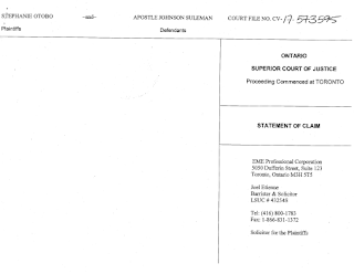 2g - Stephanie Otobo files $5m lawsuit against Apostle Suleman in Canada ,see the court papers