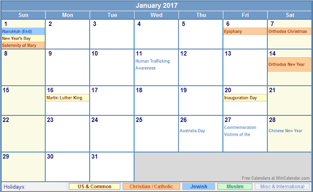 2017 Calendar with Holidays,