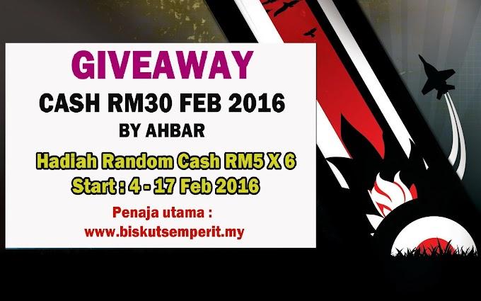Giveaway Cash RM30 Feb 2016 by AHBAR