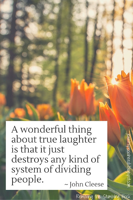 A wonderful thing about true laughter is that it just destroys any kind of system of dividing people; Removing the Stumbling Block