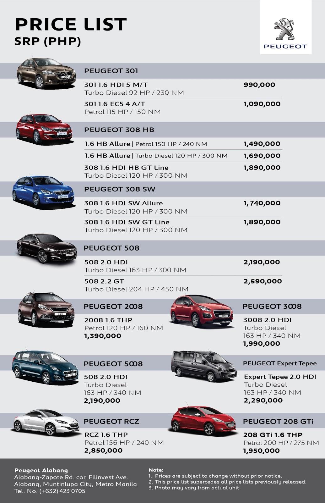 Kia Philippines Price List >> Peugeot Price List   British Automotive