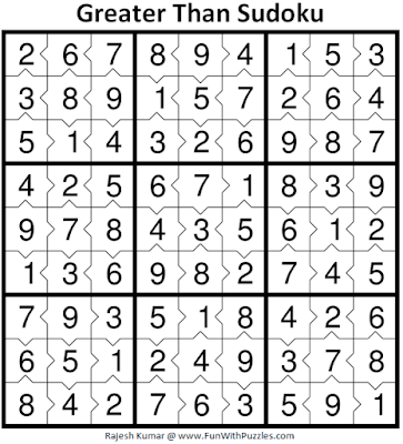 Answer of Greater Than Sudoku Puzzle (Fun With Sudoku #371)