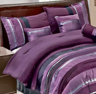 Gray large scale scroll applique on plum ground, intricate embroidered decorative pillows and shams, this beautiful comforter set will transfer your bedroom into a dreamy retreat.. 3 decorative pillows and bonus euro shams included.