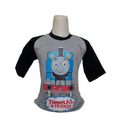 Kaos Raglan Anak Karakter Thomas and Friends 2 Abu-Abu