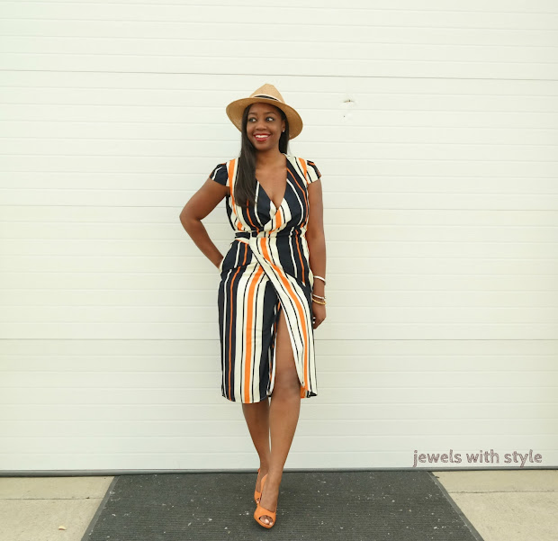 flattering dress for all shapes, flattering dress for all sizes, most flattering dress for women, wrap dress for women, striped dress, panama hat, how to wear stripes, best dress for each body type, how to wear a panama hat, how to wear a straw hat, how to wear a fedora hat, jewels with style, columbus ohio  blogger, columbus ohio wardrobe stylist