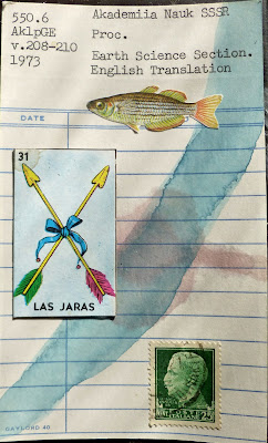 Las Jaras arrows mexican lottery card postage stamp zebra fish library card Fluxus Dada mail art collage