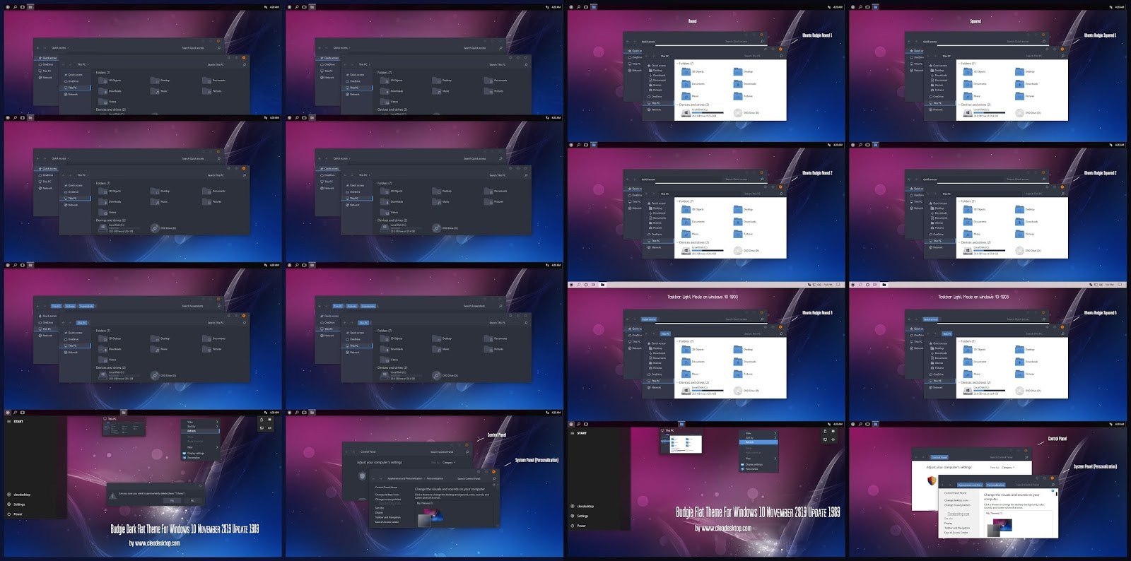 Budgie Flat Dark And Light Combo Pack Theme And Icon For Windows10 1909