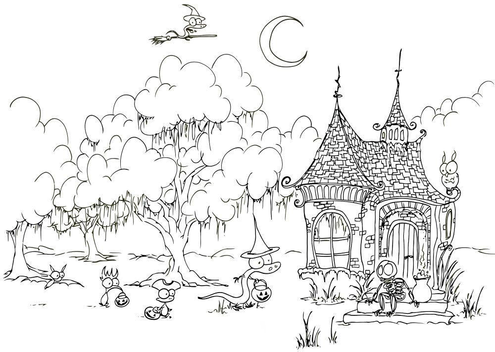 Halloween coloring pages for adults for Halloween coloring pages for adults printables