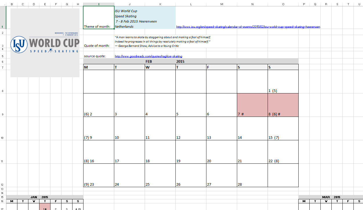 Excel Examples For Your Work Sports And More Month Calendar For