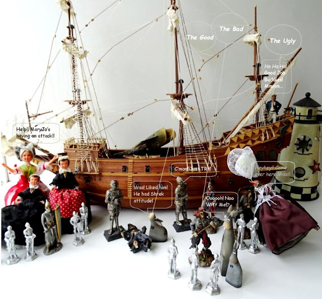Nautical Tablescape Pirates landed on Âsïnũs Island featuring Pirates, Knights, Folk Dolls Figurines and a wonderful mighty Galleon