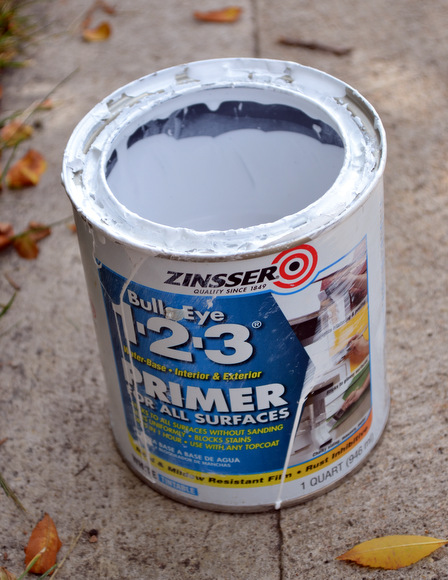 The Zinsser Bullseye Primer is my favorite primer to use on DIY paint jobs.