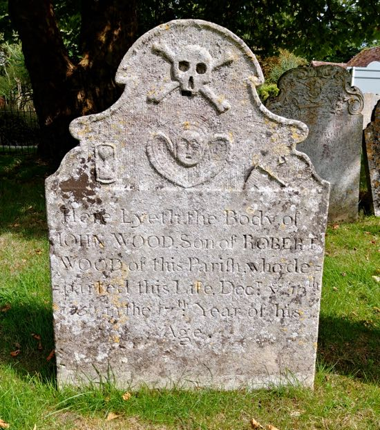 The first tombstone in Dorothy Colville's article photographed in August 2018  Image by the North Mymms History Project, released under Creative Commons BY-NC-SA 4.0