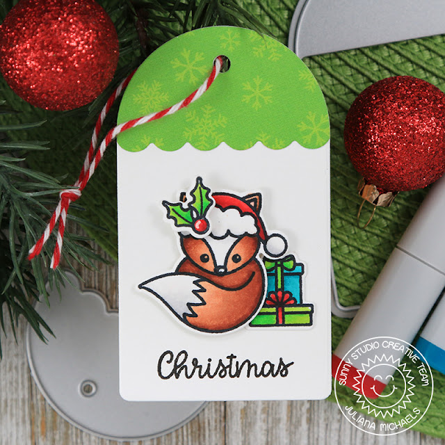 Sunny Studio Stamps: Build A Tag No 1 Foxy Christmas Holiday Cheer Christmas Tag Set by Juliana Michaels