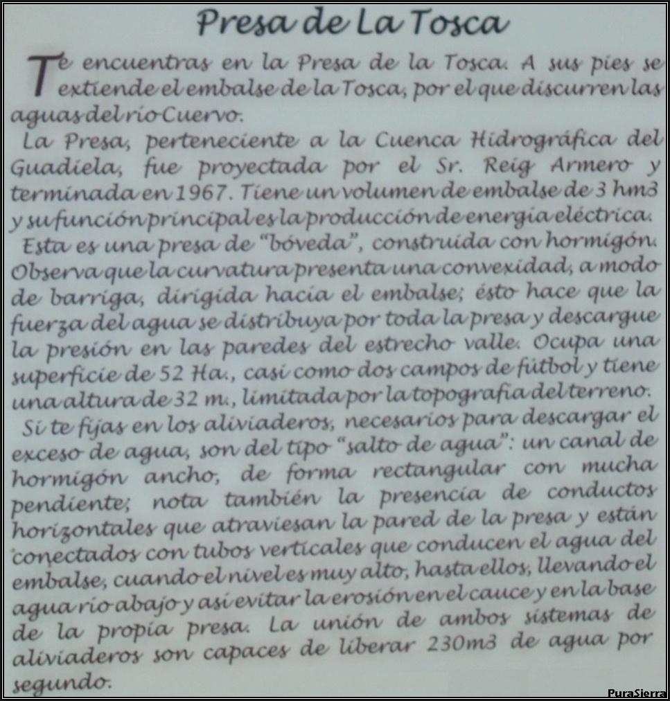 Cartel explicativo creado por la Mancomunidad de Turismo Rural de Beteta y Comarca (Embalse De La Tosca)