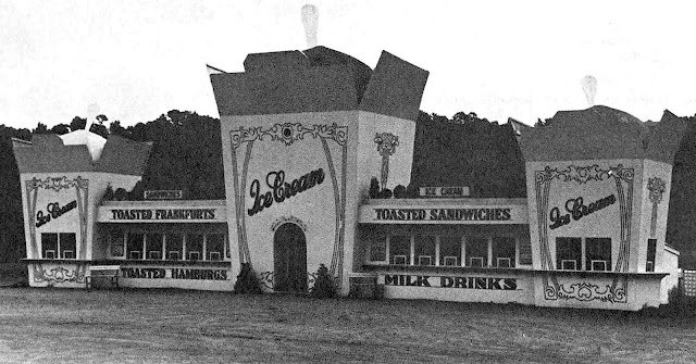 a1930s roadside restaurant, made to look like giant food servings, a photograph
