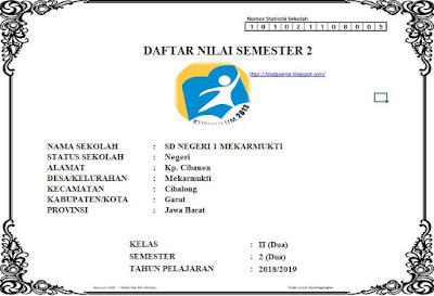 Daftar Nilai Kurikulum 2013 SD Kelas 2 Semester 2 Tahun Pelajaran 2018/2019, https://bloggoeroe.blogspot.com/