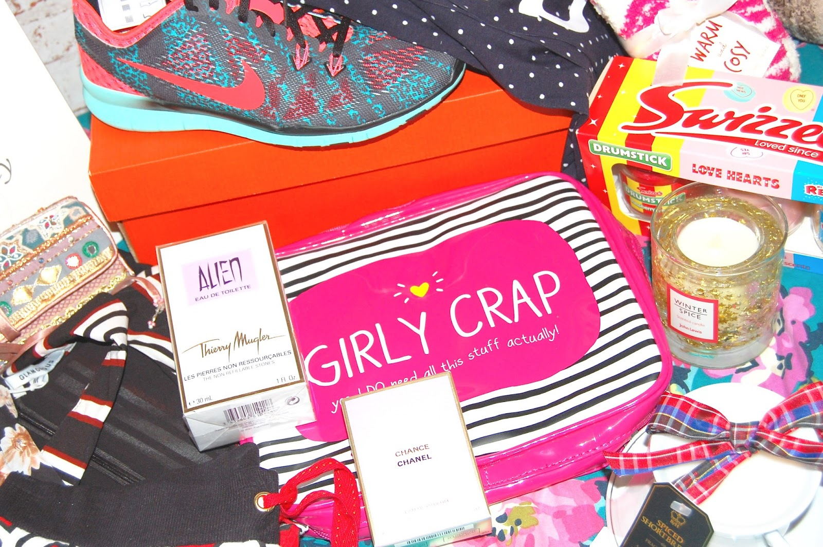 Christmas Presents, Regram Runway, Lush Cosmetics, Nike, perfume