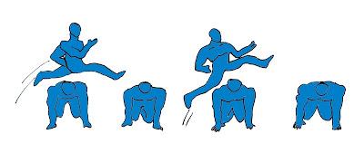 Salto alto atletismo juego carrera obstáculos corporales
