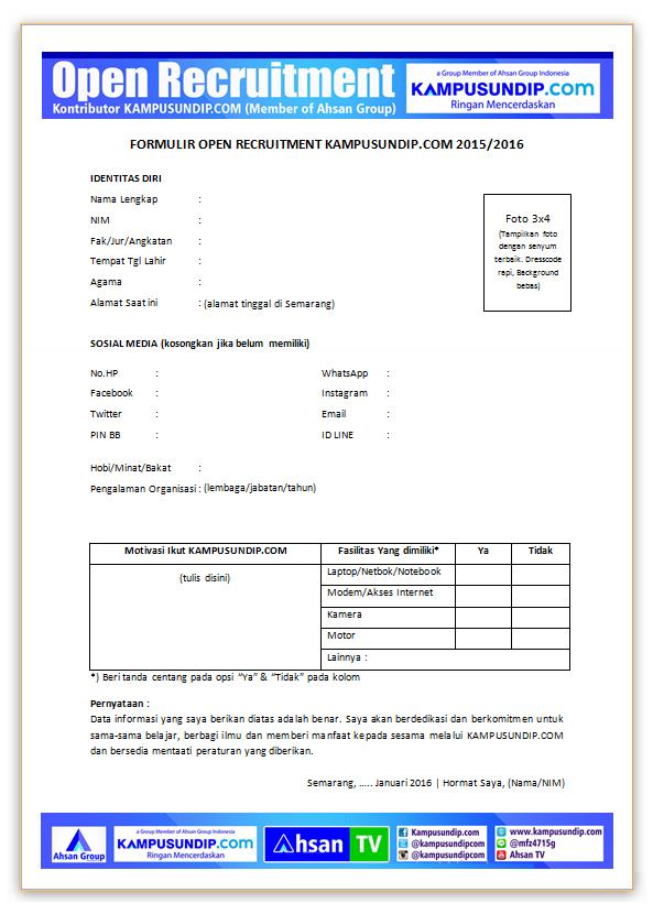 Download Formulir Oprec Kampusundip Com Kampusundip Com