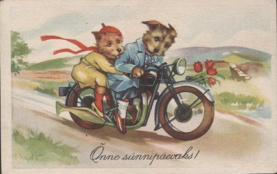 Birthday Happy Cards Motorcycle Girls