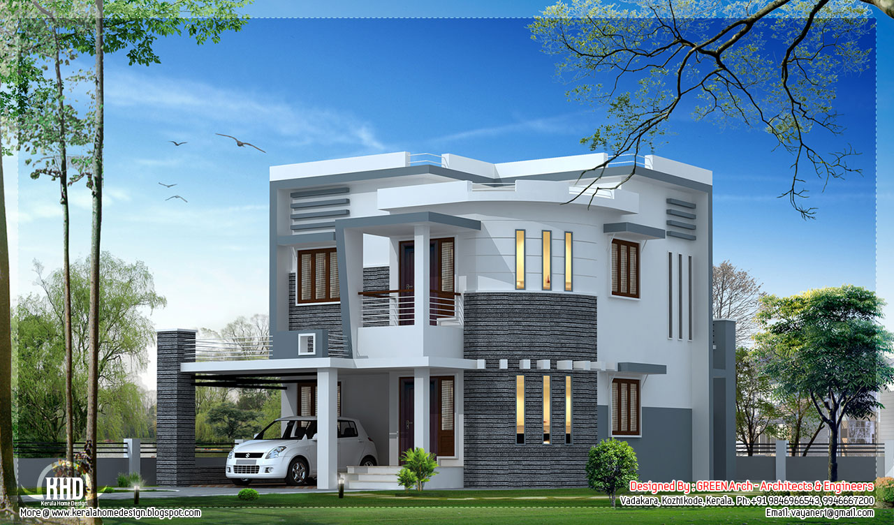 Feet Front Home Elevation : November kerala home design and floor plans