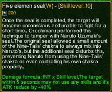 naruto castle defense 6.0 Five elements seal detail