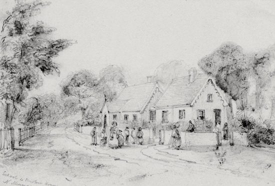 Sketch of The School and Mistress's House, Water End c1850
