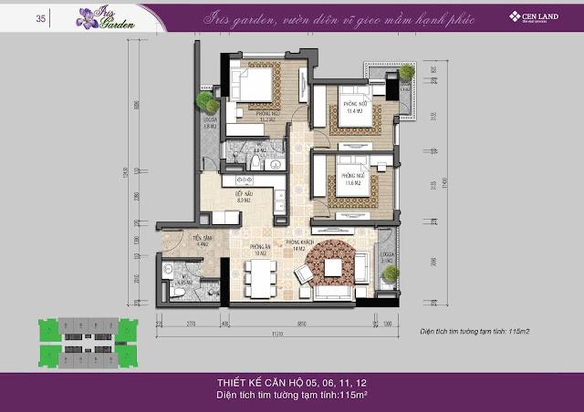 Thiết kế căn hộ 110m2 thông thủy