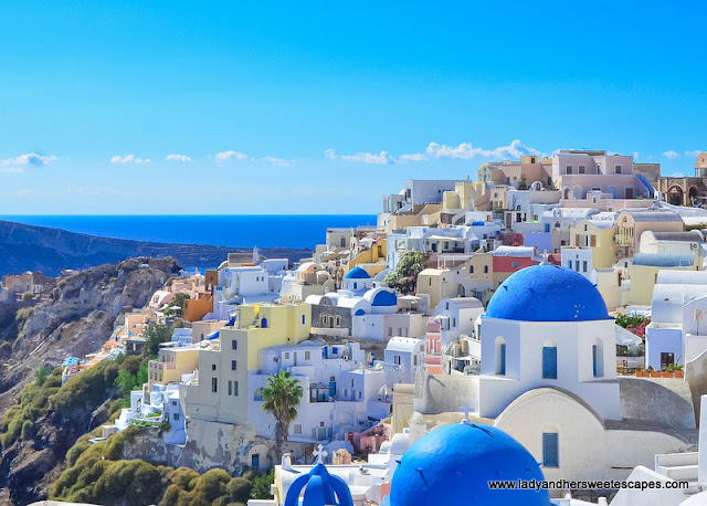 blue-domed church in Santorini