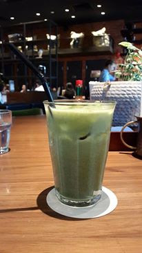 Iced green tea latte at Watanabe Coffee Orchard