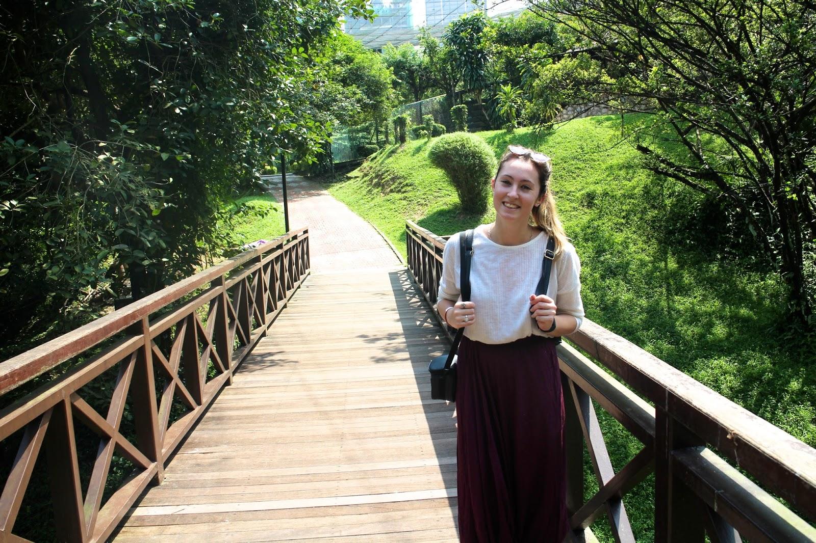 In the beautiful gardens in Kuala Lumpur
