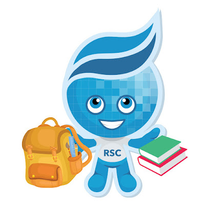 Rio Waves Mascot Splash with backpack and books in hand.