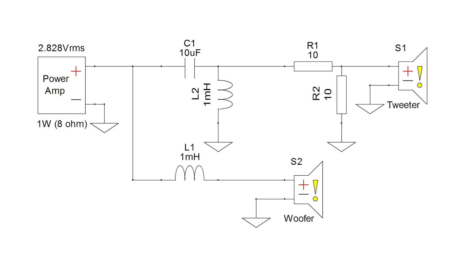 R1 and R2 make up the L-pad we were discussing, so named because of the  shape it takes in the schematic. Since R2 is parallel with the driver it  reduces the ...