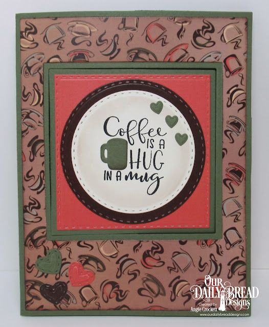 ODBD Hug in a Mug Stamp/Die Duos, ODBD Custom Lever Card Dies, ODBD Custom Lever Card Layers Dies, ODBD Custom Double Stitched Squares Dies, ODBD Custom Double Stitched Circles Dies, ODBD Custom Mini Stitched Hearts Dies, ODBD Custom Umbrellas Dies, ODBD Latte Love Paper Collection, Card Designer Angie Crockett