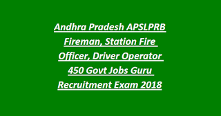 Andhra Pradesh APSLPRB Fireman, Station Fire Officer, Driver Operator 450 Govt Jobs Guru Recruitment Exam 2018