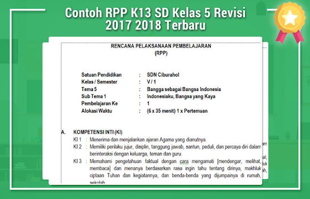 Contoh RPP K13 SD Kelas 5 Revisi 2017 2018