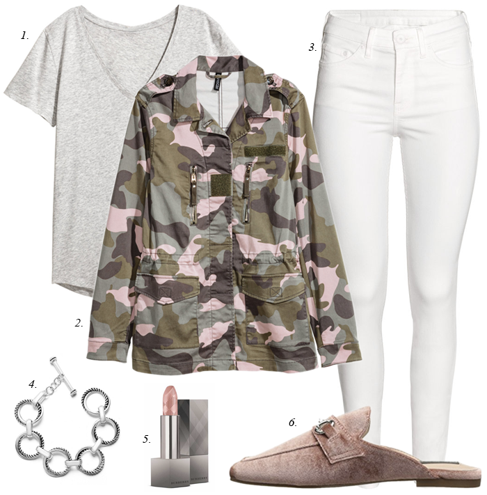 pink camo jacket white jeans pink mules