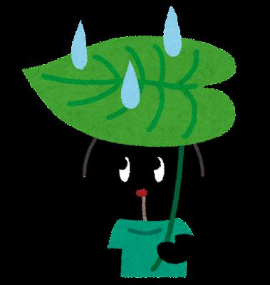葉っぱの傘をさすぴょこのイラスト