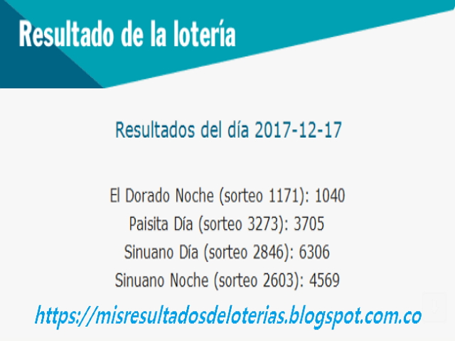 Como jugo la lotería anoche   Resultados diarios de la lotería y el chance   resultados del dia 17-12-2017
