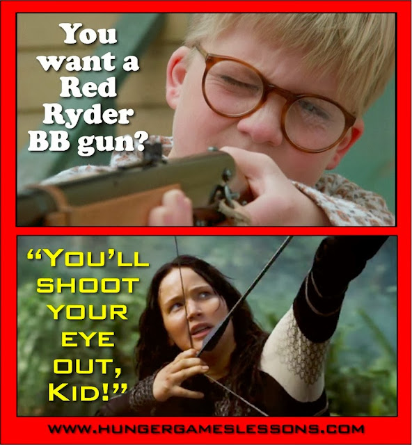 Ralphie Meets Katniss - Click for more funny memes on www.hungergameslessons.com