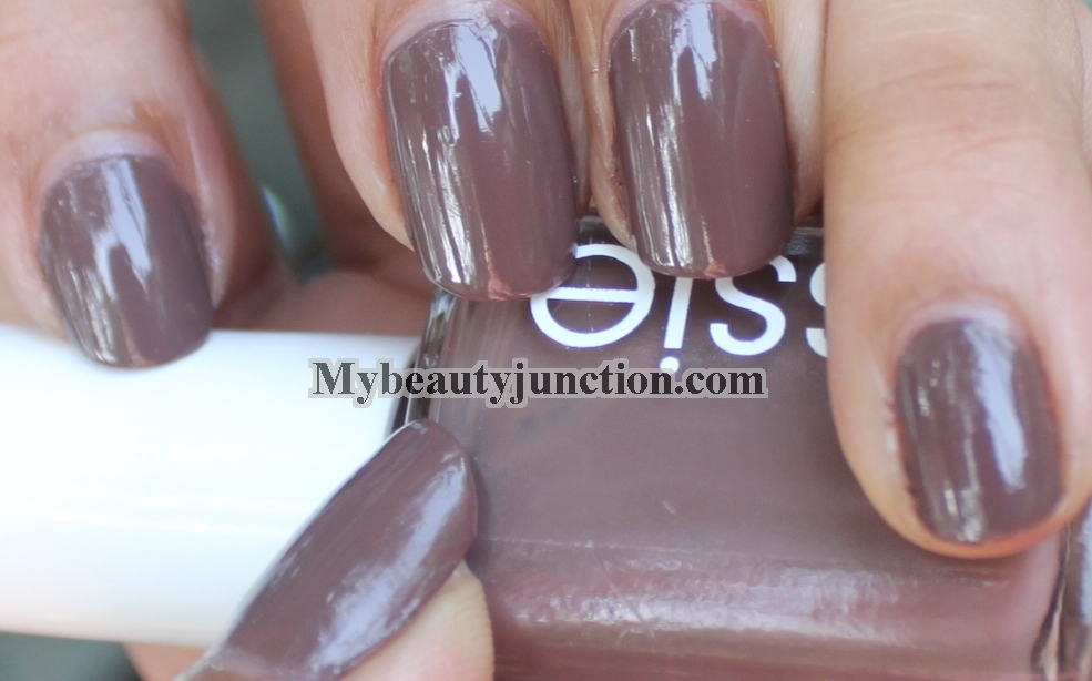 China Glaze Whirled Away glitter over Essie Mink Muffs taupe nail ...