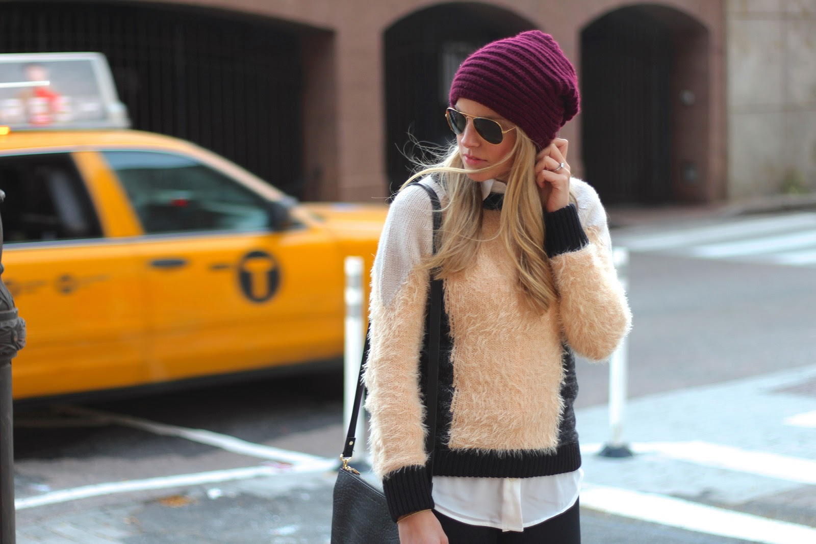 1 state, fuzzy sweater, sweater, beanie, leather pants, layers, lord & taylor