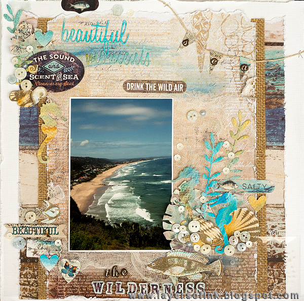 Layers of ink - Wilderness Layout by Anna-Karin with Prima French Riviera papers
