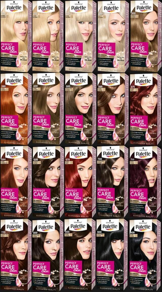 Palette perfect care color  saç renk kodları