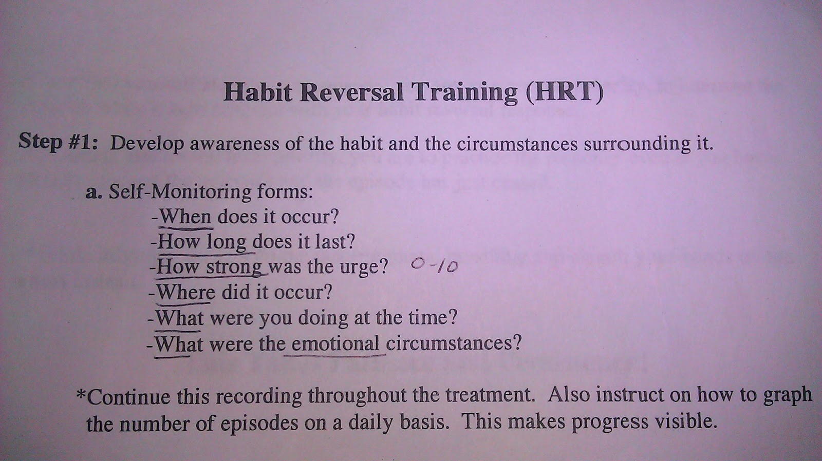 Healing Hands Habit Reversal Training Basic Instructions